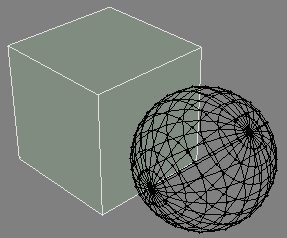 The main model is shown with face and wireframe information, the second model is shown only as a black wireframe.