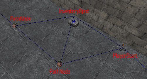 Different types of NavigationPoint with the paths between them showing in UnrealEd