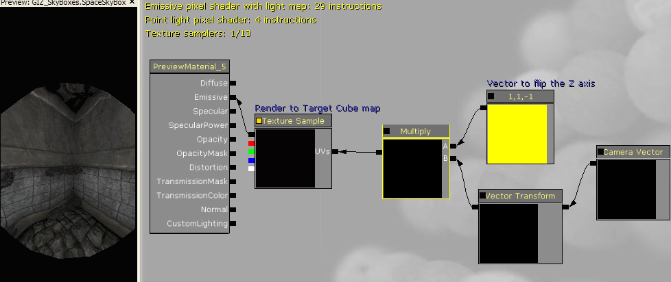 Material setup for the sky box cube map