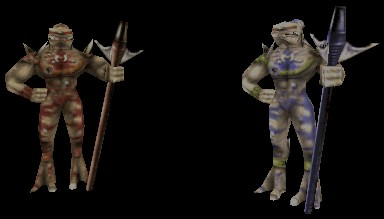 A standard Krall on the left, and a Krall Elite on the right.  When standing in place, a Krall appears almost as tall as a Skaarj Warrior.  However, a Krall seems noticably shorter when walking or running.