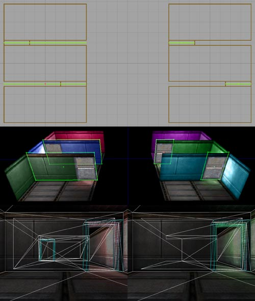 The same geometry with different portals, in the editor and in-game.